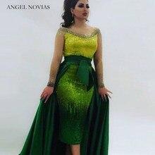 67de0a3dc Vestido de noche de lujo verde manga larga Ángel Novas 2018 árabe Dubai Formal  vestidos de noche con falda desmontable