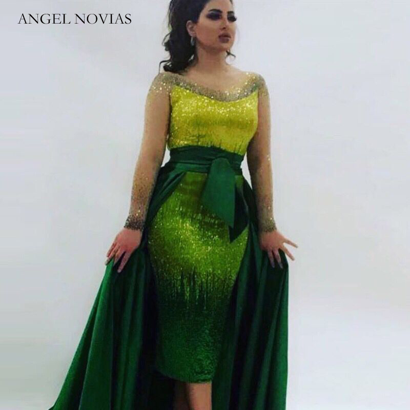 ANGEL NOVIAS Long Sleeves Green Luxury Beading Evening Dress 2020 Arabic Dubai Formal Evening Gowns With Detachable Skirt