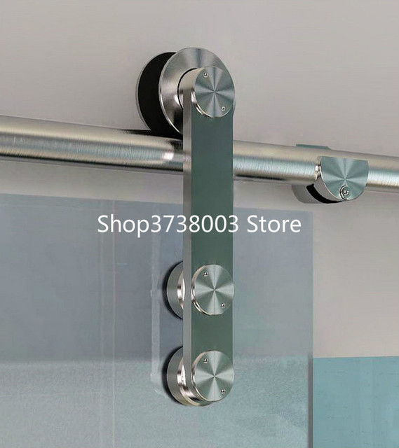 5ft 8ft Frameless Modern Sliding Glass Barn Door Hardware Brushed