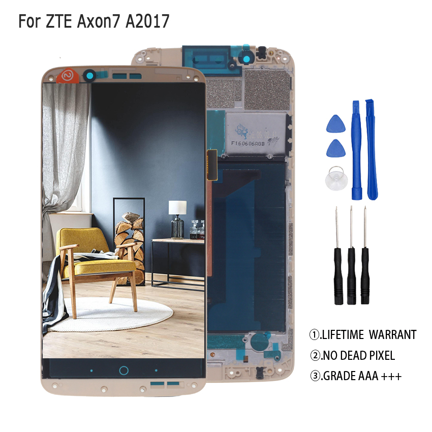Original AMOLED For ZTE Axon 7 LCD A2017 A2017U A2017G Display Touch Screen Digitizer Aseembly For