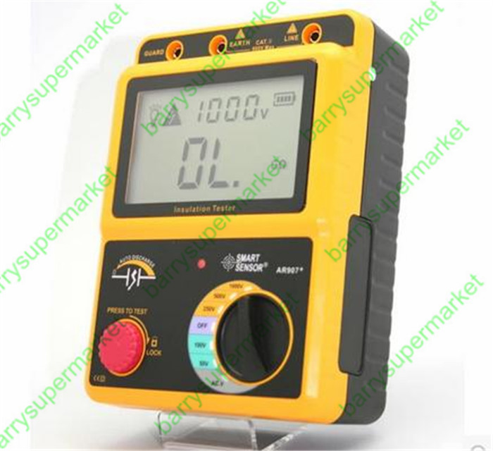 SMART AR907+ 50V-1000v Digital Insulation Resistance Tester Meter Voltage meter Megger Testing Meter Multimeter benetech gm3125 energy saving portable 12v 1 4ma voltage overload insulation resistance tester