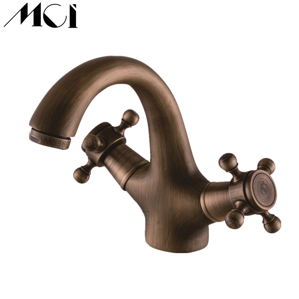 Nouveau robinet de lavabo en laiton Antique chaud et froid Double tête transversale poignée Chrome évier pont monté mitigeur de lavabo Torneira Mci