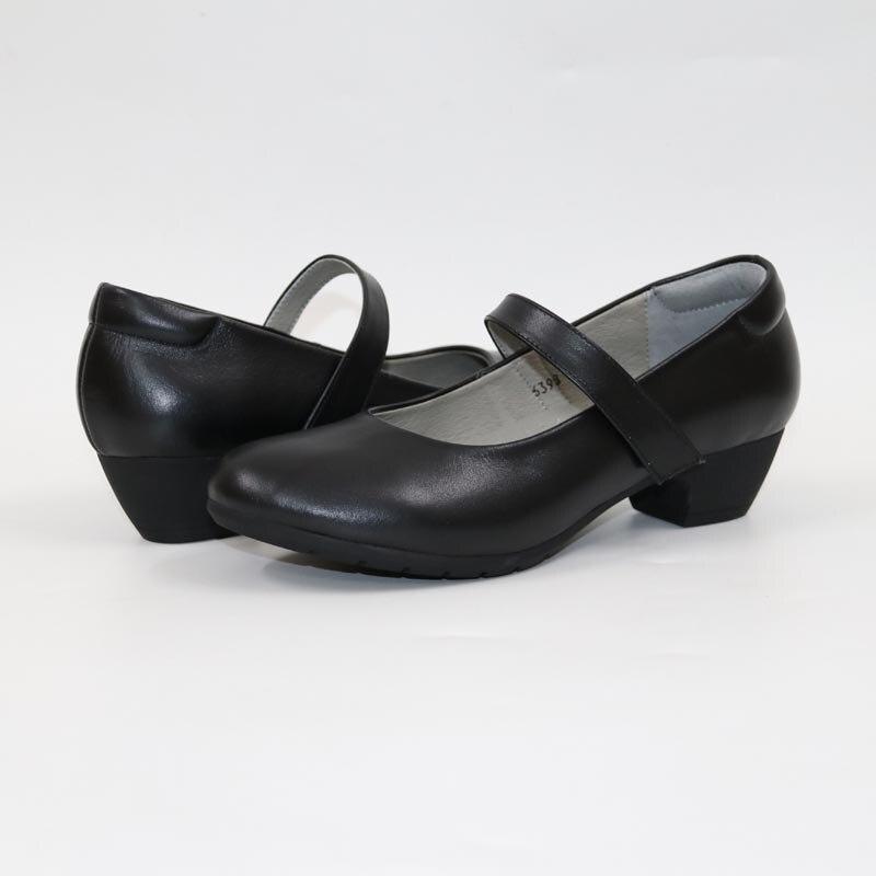 Cuir confortablement habillé femmes chaussures fleur femme chaussures en cuir véritable noir chaussures à talon moyen Mary Jane chaussures en cuir