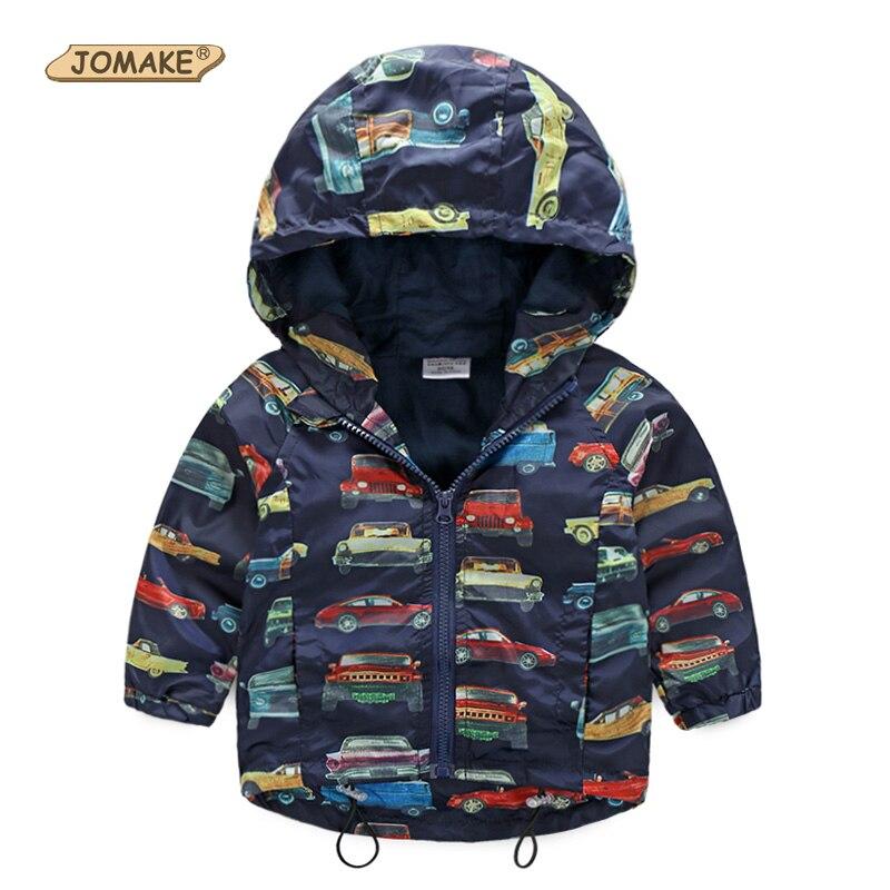 Осень 2017 г. Новинка детская куртка для Обувь для мальчиков печати автомобили для маленьких мальчиков Верхняя Одежда для девочек Детские вод...