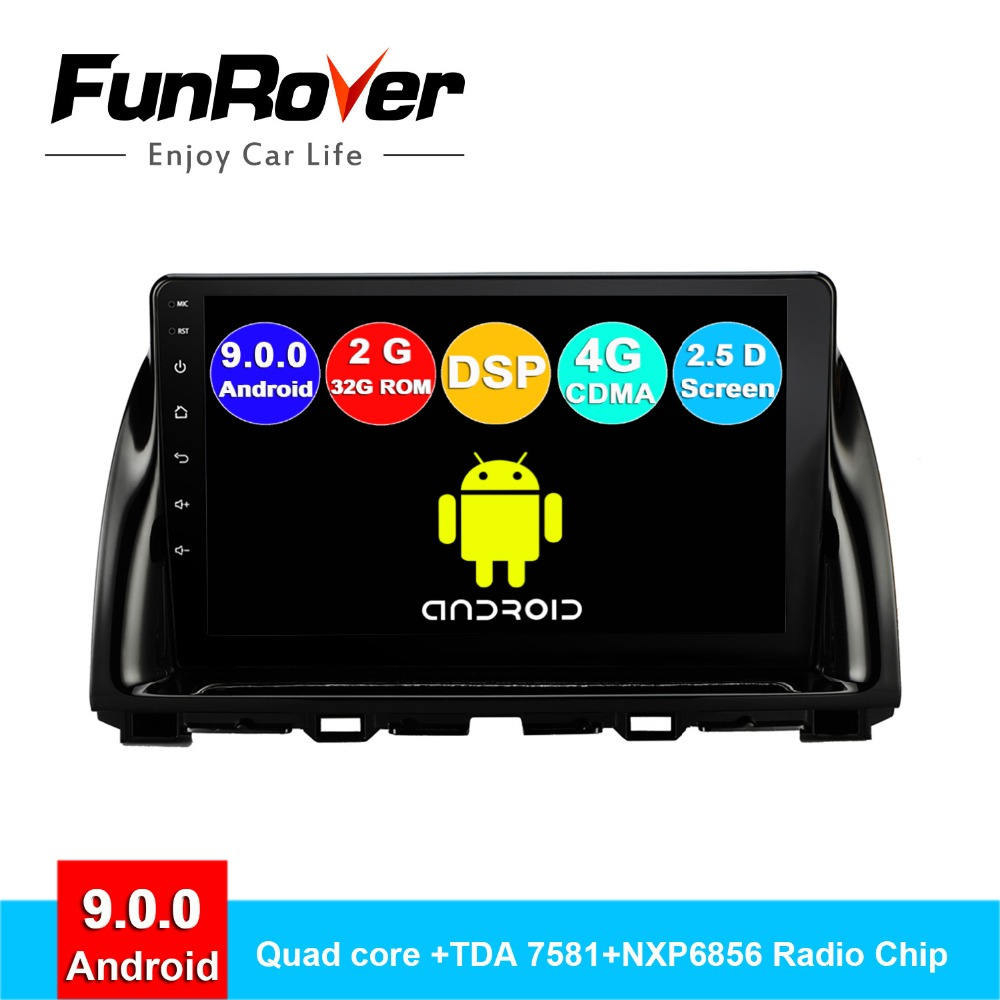 FUNROVER android 9.0 2.5D+IPS car radio gps multimedia player For <font><b>Mazda</b></font> CX-5 <font><b>CX5</b></font> 2013-2016 <font><b>navigation</b></font> navi autoradio no dvd DSP image