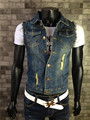 Free Shipping Mens Korean Hole Large Size Denim Vests Single Breasted Casual Jeans Vests Slim Hole Jeans Wastcoats S/6Xl J1302