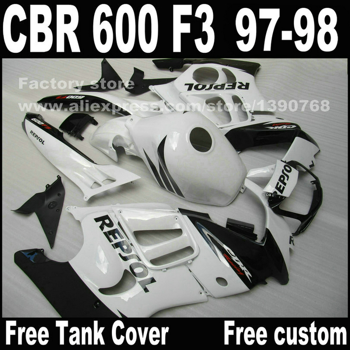 Motorcycle parts for HONDA CBR 600 F3 fairings 1997 1998 CBR600 F3 97 98 black white REPSOL fairing kit  S8