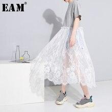 [EAM] 2019 Spring Summer Fashion New Women Casual Loose Short Sleeve Shirt Lase Hem Patchowrk O-neck Mid-calf Dress LA107