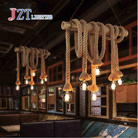 ZYY American Industrial Lampen Retro Doppelkopf Seil Pendelleuchte Loft Vintage Lampe Led Esszimmer Hand Gestrickt Hanfseil Licht