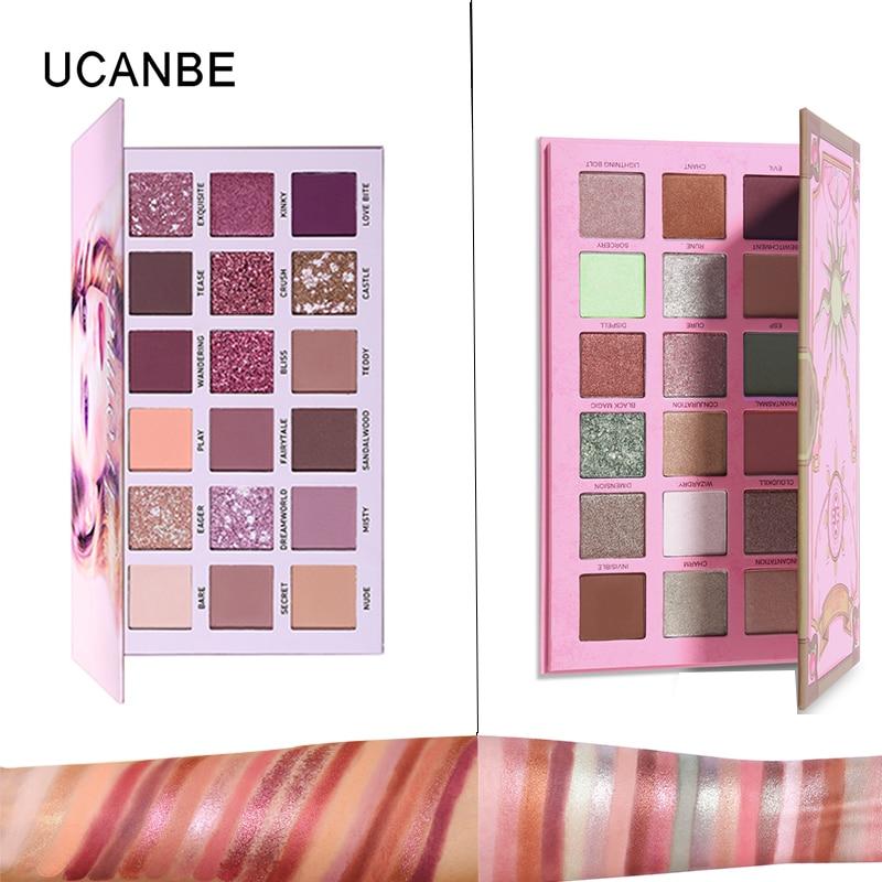UCANBE 18 Colors Eyeshadow  Pigment Makeup Palette Metallic Shimmer Matte Eye Shadow Powder Nude