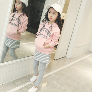 Odzież dziecięca koreańskie wydanie dziewczyna garnitur 2019 w nowym stylu dziecięcy jesienny garnitur z kapturem sweter Sport spódnica w paski dwa zestawy