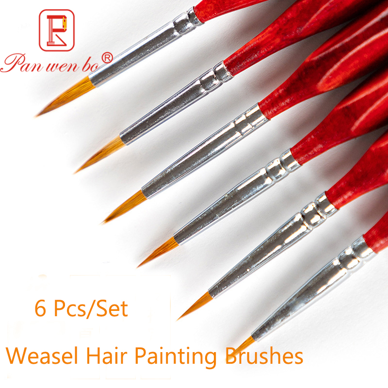 6Pcs High Quality Hook Line Pen Fine Watercolor Paint Brush For Professional Drawing Art Gouache Oil Painting Brush Art Supplies