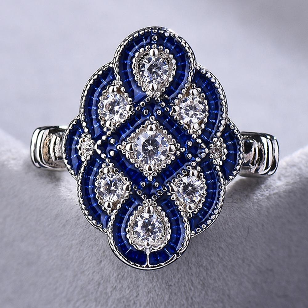 Hot Sale Chinese Knot Ring White Blue Zircon  Female style 2019 New