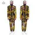 (Куртки + Брюки) 2017 Новая Африканская Печати Мужские Костюмы Тонкий Пользовательские Fit Мода Бизнес Свадебное Платье Костюмы Пиджак Плюс Размер WYN255