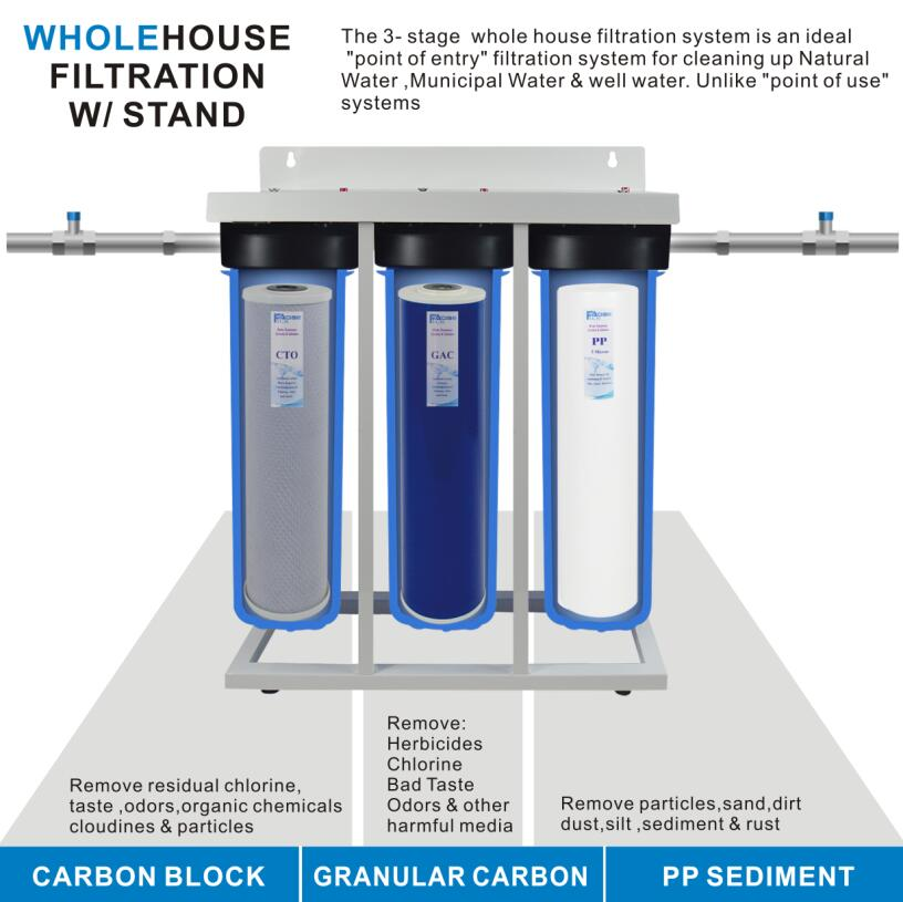 US $350 0 |3 Stage Whole House Water Filtration System 1 in  BRASS port  with Stand, 20