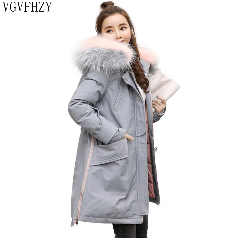 Winter Duck   Down     Coat   2018 100% Natural Raccoon Fur Collar Thick Parka Women Long   Coat   Lady's Cold Frost Resistance Warm Jacket