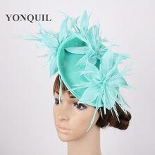 Del fiore di modo headwear Imitazione Sinamay del partito delle donne di  verde verde Smeraldo fascinator cappelli derby chiesa d. 46a64d1f7c7c