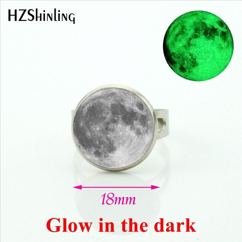 2017 New Arrival Glowing Jewelry Full Moon Rings Art Glass Glow in the dark Lunar Eclipse Jewelry Adjustable for women men
