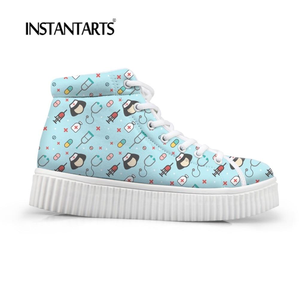 INSTANTARTS Comfortable Height Increasing Women Platform Flats Shoes Cute Cartoon Nurse Prints Casual Female Flat Shoes High Top