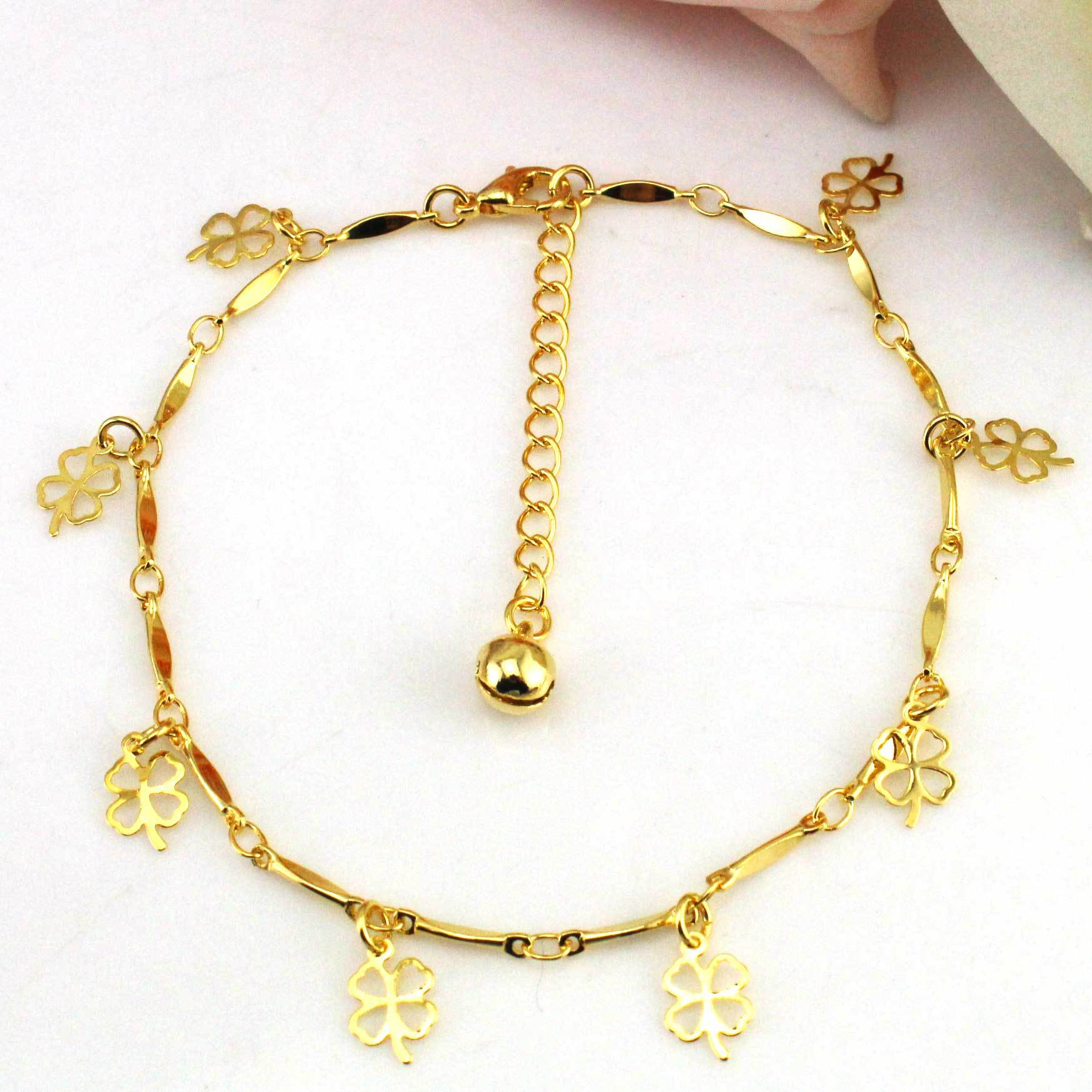 Gold Anklet Clover Cute Leg Bracelet Foot font b Jewelry b font Ankle Bracelets for Women