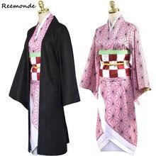 Аниме Demon Slayer: Kimetsu no Yaiba Косплей Костюм Kamado Nezuko кимоно платье толстовки форменная Толстовка парики для волос для женщин