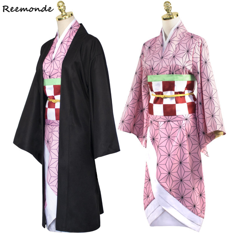 Anime Demon Slayer: Kimetsu No Yaiba Cosplay Costume Kamado Nezuko Kimono Dress Hoodies Sweatshirt Uniform Hair Wigs Women Girl