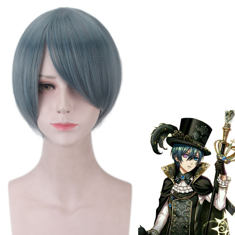 Ciel Phantomhive Wig Black Butler Book of the Atlantic Hair 30 CM Blue Heat Resistant Synthetic Cosplay Wig Black Butler
