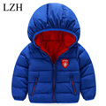 LZH Baby Boys Jacket Coat 2017 Pure Color Hooded Winter Down Jacket For Girls Jacket Kids Warm Outerwear Coats Children Clothes