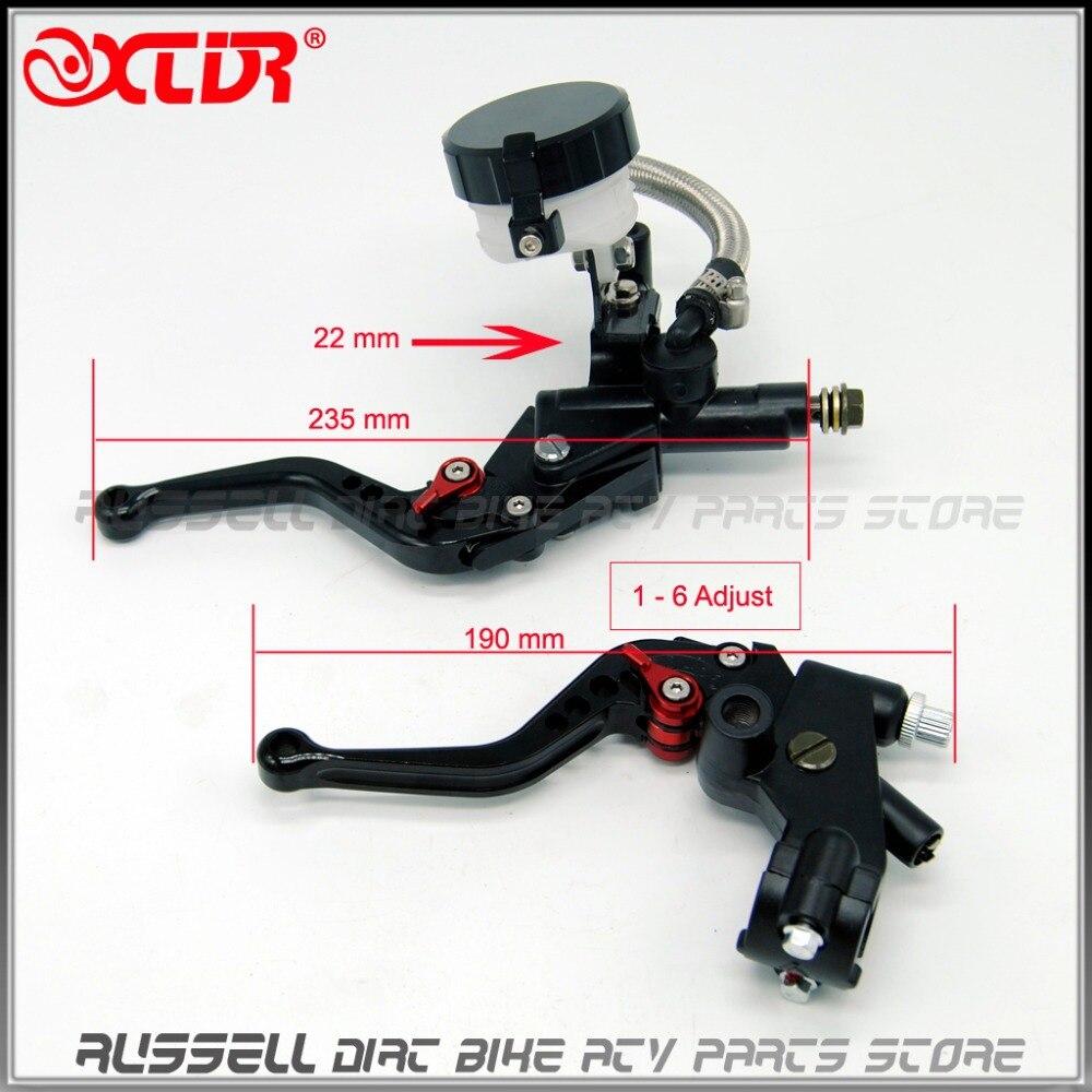 ФОТО CNC Universal Clutch Brake Levers Master Cylinder Kit Reservoir Set for motorcycle yamaha , kawasaki , Honda,Suzuki