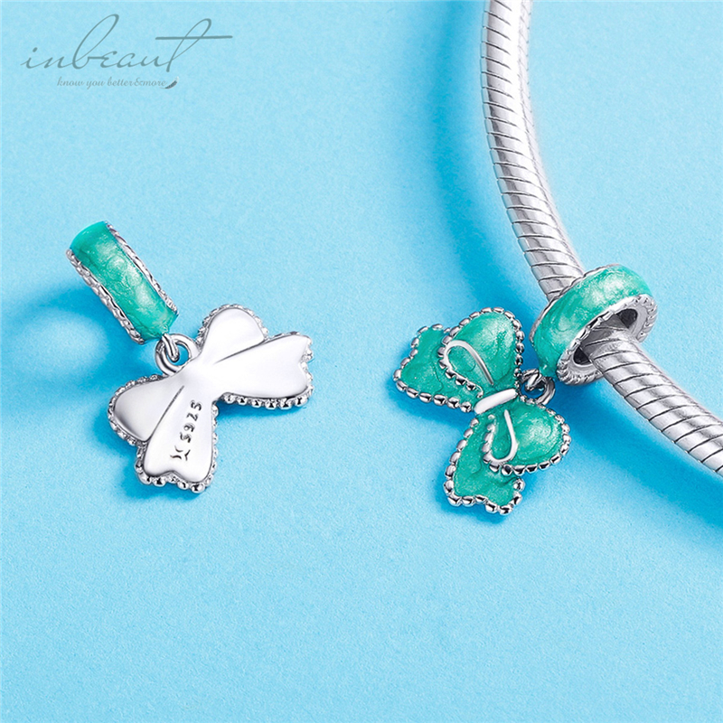 inbeaut Silver Green Bow Charms Cute Enamel fit Original diy Bracelet S925 Gentlemen Bow knot Beads for Bangles Jewelry Making in Charms from Jewelry Accessories