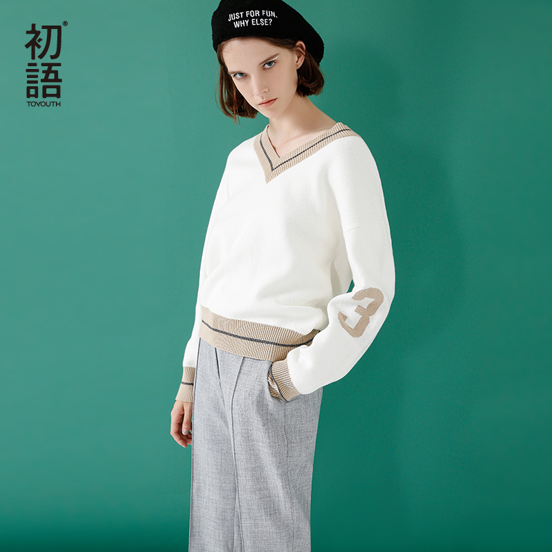 Toyouth V Neck Knitting Winter Sweater Women Fashion Down Sleeve Pullover Female New 2019 Autumn Winter