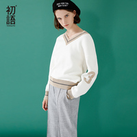 Toyouth Women Sweaters Loose V Collar Striped Pullovers For Women Spring Autumn Female Tops Lady S