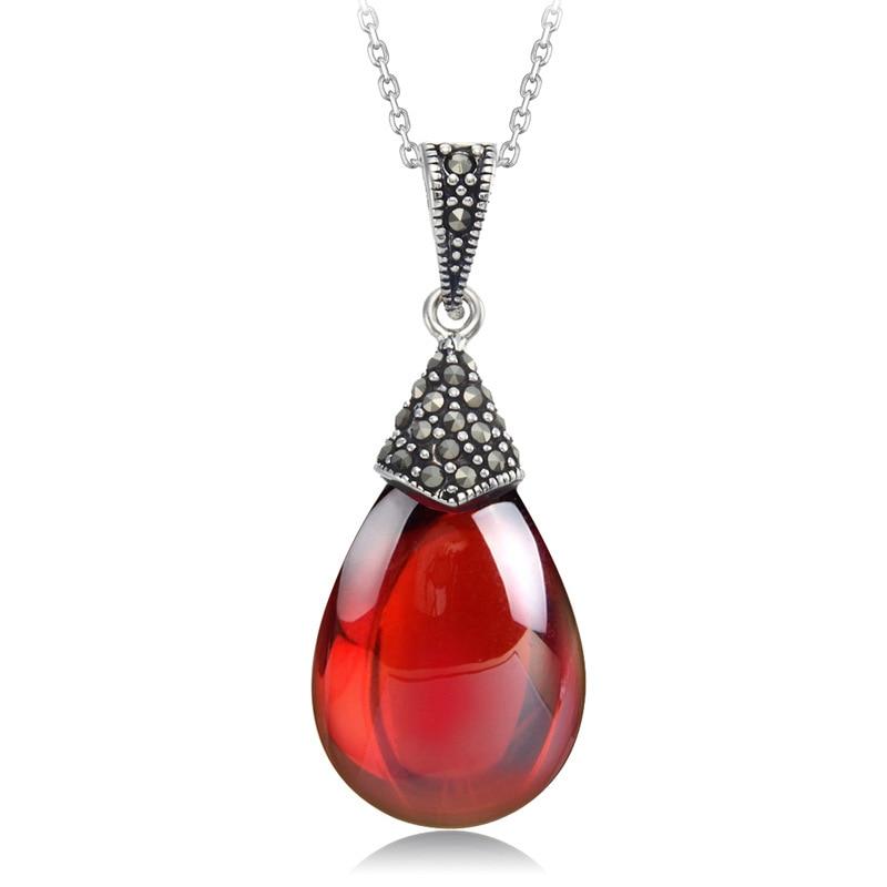 Природни полудраго камење од 15 * 18 мм Стерлинг Силвер Прави гранат привјесак црвено огрлица Модни женски накит ретро даме