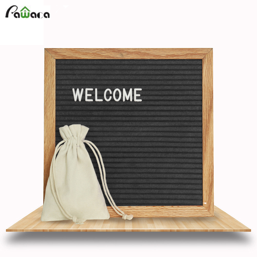 pawaca black felt wood message board 10x10 inches changeable letter boards sign 290 white. Black Bedroom Furniture Sets. Home Design Ideas