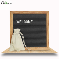 Pawaca Black Felt Wood Message Board 10x10 Inches Changeable Letter Boards Sign 290 White Plastic Letters & Oak Frame Home Decor