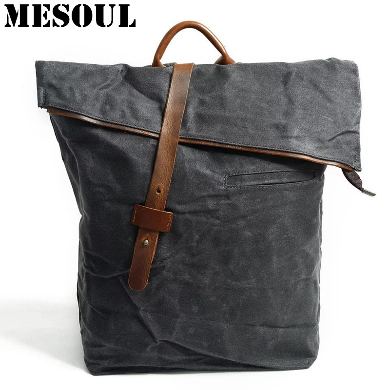 Men Backpack Waterproof School Bags For Teenagers Boy Shoulder Bags Male Vintage Zipper Canvas Large Capacity