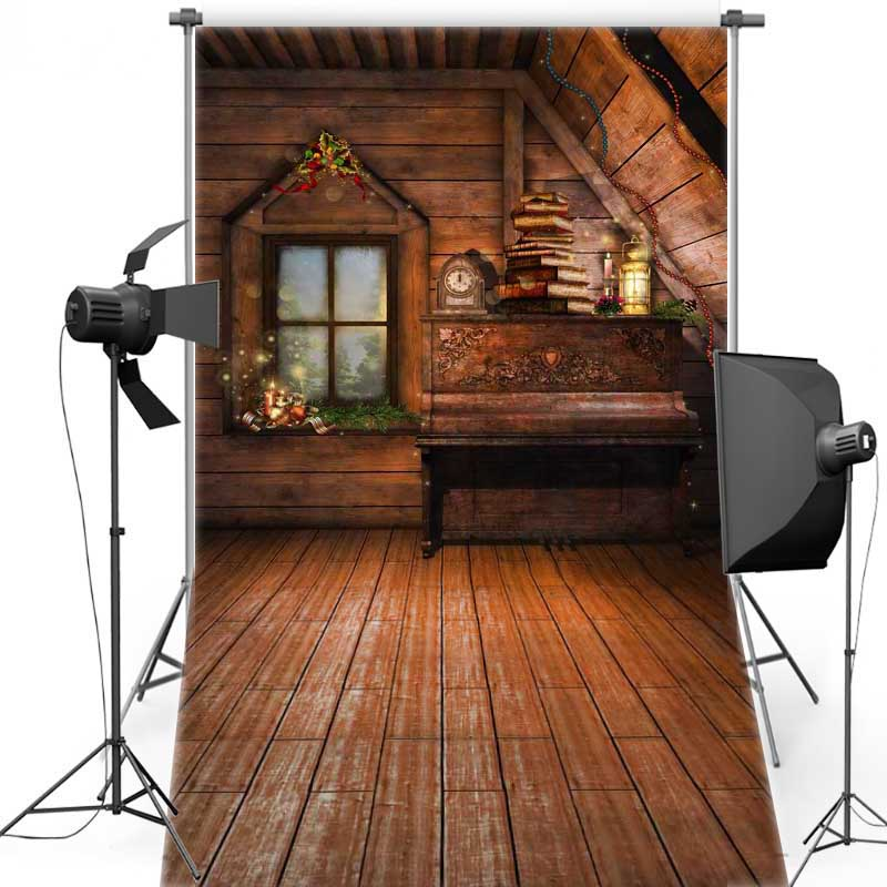 MEHOFOTO Christmas Wood House Vinyl Photography Background New Fabric Flannel Backdrops For Children Photo Studio Props ST343