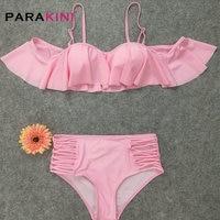 PARAKINI 2018 Pink Solid Off Shoulder Bikini Cute Bandeau Lady Bikini High Waist Swimwear Women Padded