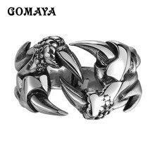 GOMAYA 316L Stainless Steel Ring Dragon Claw for Men Trendy Fashion Jewelry Biker Punk Hip hop Rock Metal Gothic Women