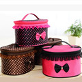 Japan And Korean Style Suitcase Makeup Kit Viagem Estuches Cosmeticos Women Beauty Kit Viagem Barrel Shaped Bow Makeup Bag Viaje