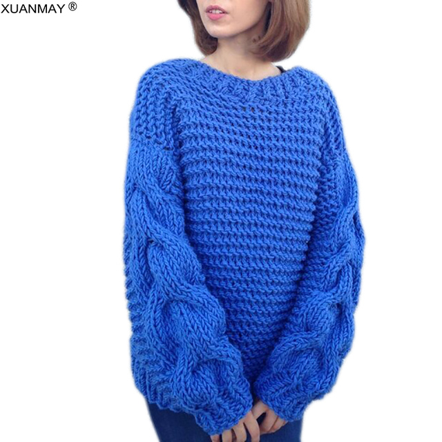 Autumn Women s Streetwear Handmade Woven Thick Sweater coat 2018 Fashion  Dark Blue Winter Sweater Large Size 4XL Knit Sweater 487b866b9