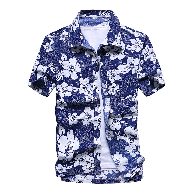Fashion Mens Hawaiian Shirt Male Casual Colorful Printed Beach Aloha Shirts Short Sleeve Plus Size 5XL Camisa Hawaiana Hombre