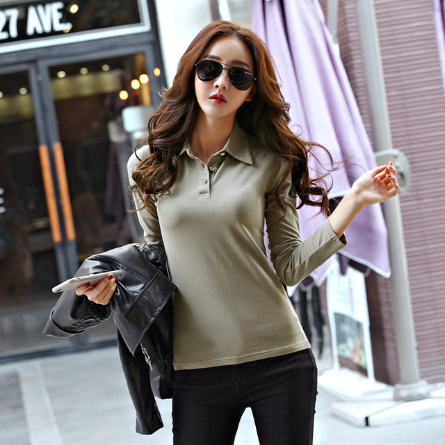 546196c0d9d ... Winter Autumn Casual Polo Women 2017 New Long Sleeve Slim Polos Mujer  Black White Red Women ...