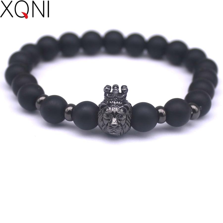 2017 New Fashion Black Stone Charm Men Náramky Populární značka Makrame Odznak Přívěsek řetízek Vintage Korálky Náramky Šperky.