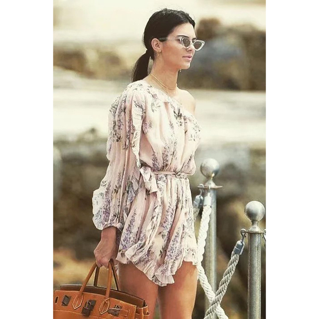 Kendall Jenner Dress 2018 Summer Vacation Asymmetric Print Mini Dress for Women Chiffon Mesh Elastic Waist Sexy Beach Dress