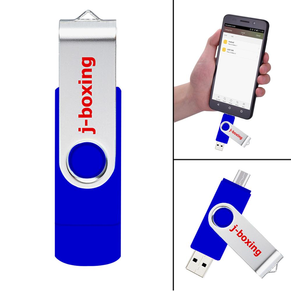 J boxing OTG USB Flash 16GB Pendrive Dual Port 16 gb Memory Card Micro USB Flash Drive for Android Samsung Huawei LG Tablet Blue in USB Flash Drives from Computer Office