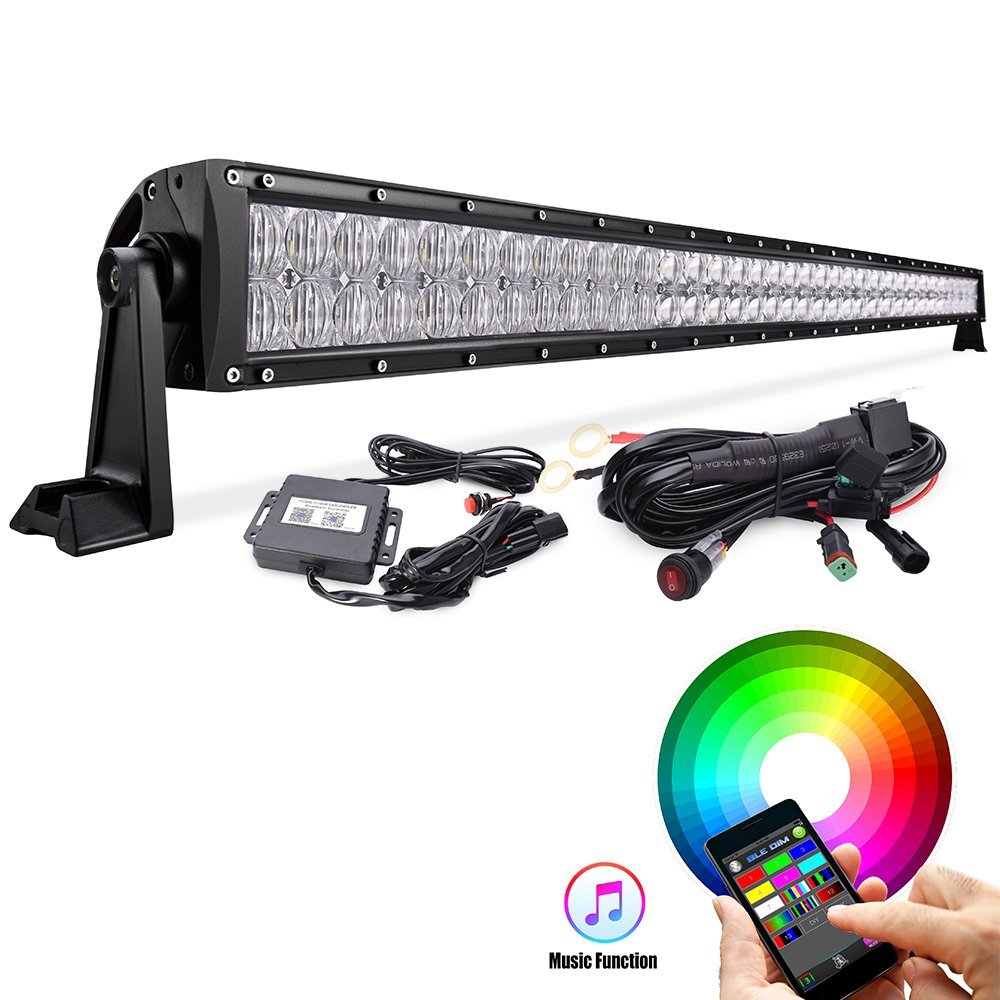 52 Quot 300w Led Light Bar 5d Rgb Offroad Color Changing Led