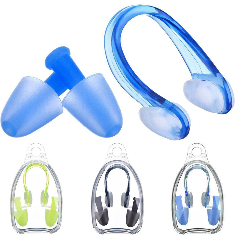 Soft Silicone Swimming Nose Clips + 2 Ear Plugs Earplugs Set Pool Accessories Water Sports Swimming Tools