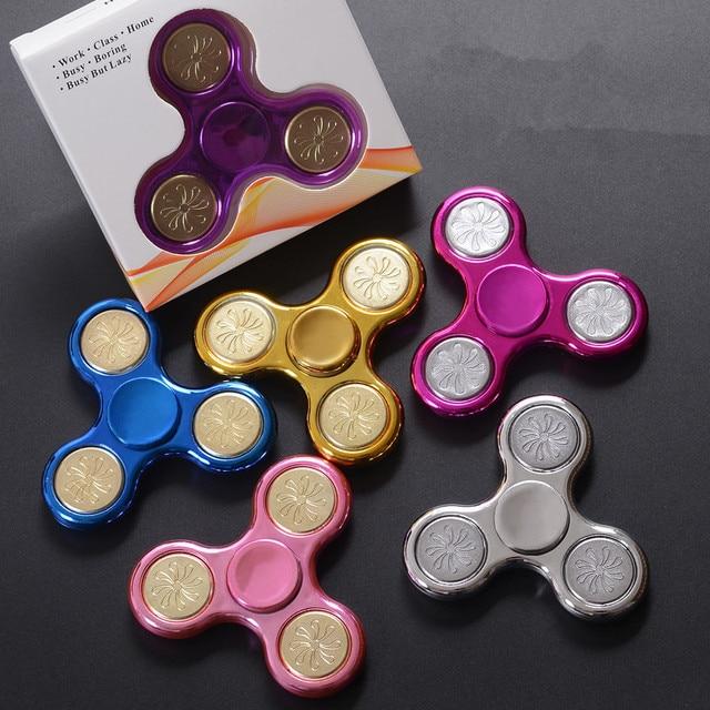 1piece Metallic Series Gold Pink Blue Batman Anti Stress Fidget Spinner Children Best Gift Educational Toy