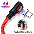 Для huawei P30 Pro mate 20 Lite Магнитный 5A usb type C Быстрый кабель синхронизации зарядного устройства нейлоновое покрытие светодиодный индикатор зарядк...